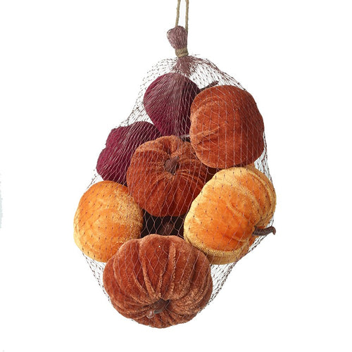 Autumn Collection of Velvet Pumpkins for Decorative Displays and Halloween