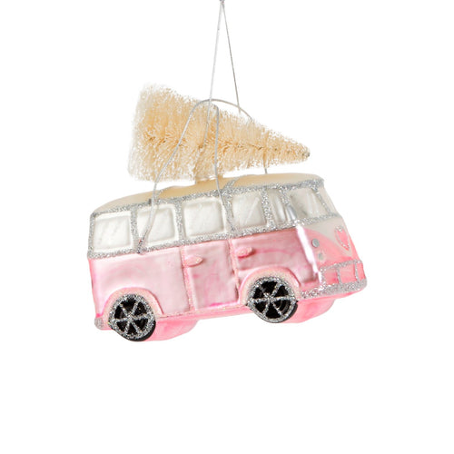 Coming Home For Xmas Pink Love Camper Van with Christmas Tree Luxury Bauble