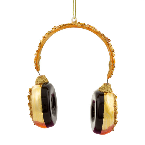 Sparkling Luxe Gold Headphones DJ Christmas Tree Ornament by Sass & Belle