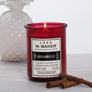 M Baker Colonial Candles of Cape Cod 8oz Cinnamon Bark Christmas Holiday Candle