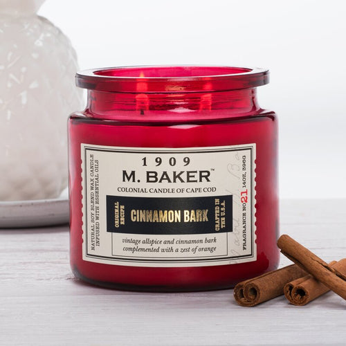 M Baker Colonial Candles of Cape Cod Large 14oz Cinnamon Bark Christmas Holiday Candle