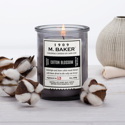 M Baker Colonial Candles of Cape Cod 8oz Cotton Blossom Apothecary Candle