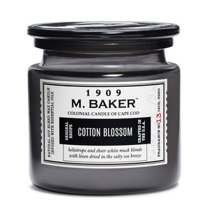M Baker Colonial Candles of Cape Cod Large 14oz Cotton Blossom Apothecary Candle