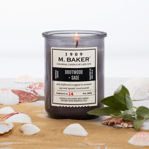 M Baker Colonial Candles of Cape Cod 8oz Driftwood Sage Apothecary Candle
