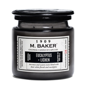 M Baker Colonial Candles of Cape Cod Large 14oz Eucalyptus & Lichen Apothecary Candle