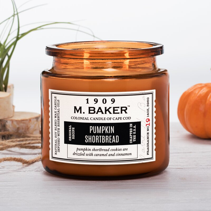 M Baker Colonial Candles of Cape Cod Large 14oz Pumpkin Shortbread Harvest Special Candle