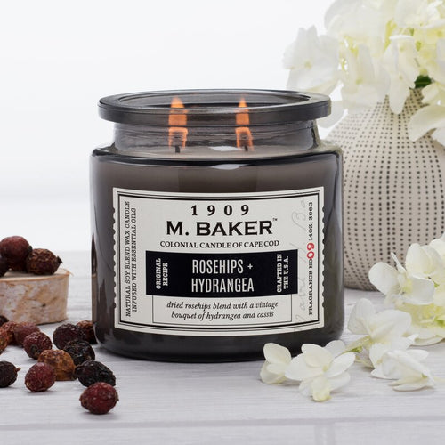 M Baker Colonial Candles of Cape Cod Large 14oz Rosehips & Hydrangea Apothecary Candle