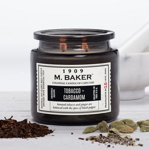 M Baker Colonial Candles of Cape Cod 14oz Tobacco & Cardamom Apothecary Candle