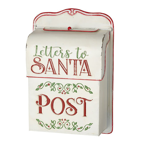 Vintage Style Santa Mail Metal Christmas Cards Post Box - Cream by Heaven Sends