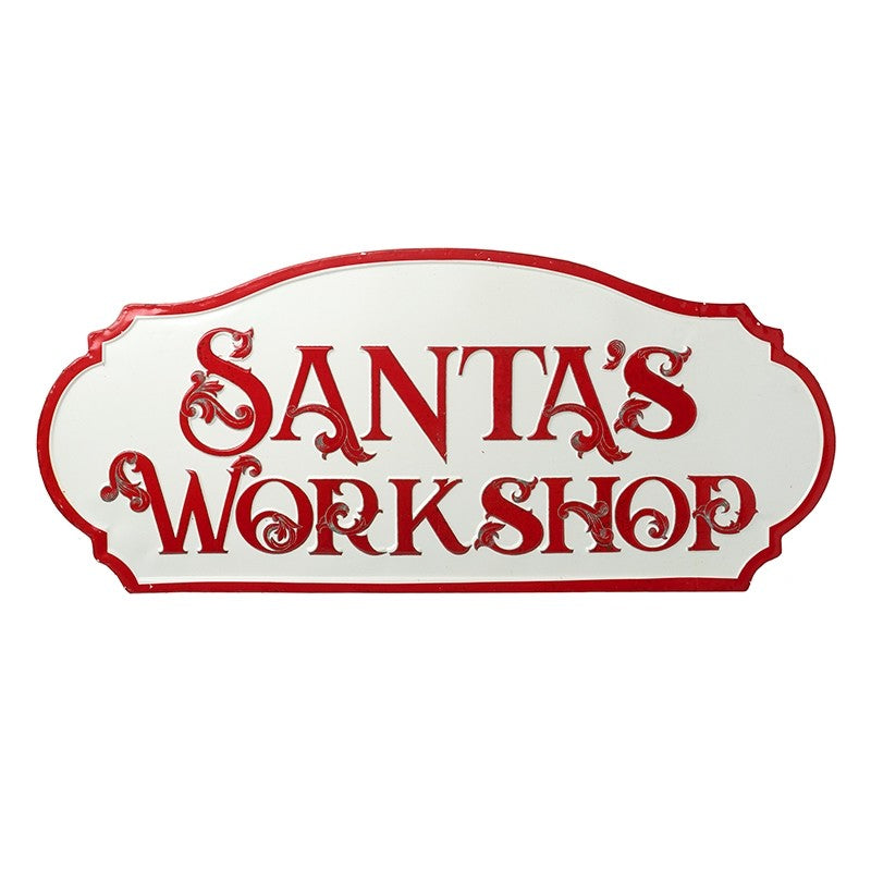 XL Santa's Workshop Metal Vintage Style Christmas Sign in Red and White by Heaven Sends