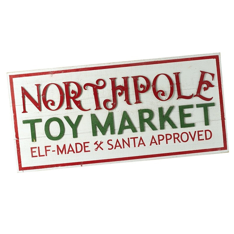 XL North Pole Toy Market Christmas Wooden Panel Sign by Heaven Sends