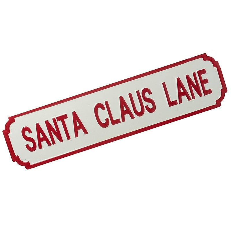 XL Santa Claus Lane Metal Vintage Style Christmas Road Sign in Red and White by Heaven Sends