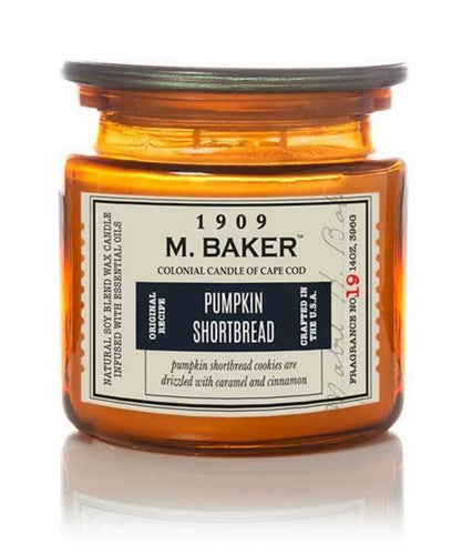 M Baker Colonial Candles of Cape Code Pumpkin Shortbread Seasonal Special Candle