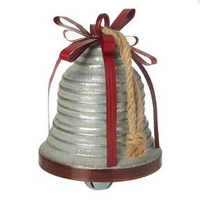 Large Metal Vintage Christmas Silver Bell with Metal Ribbon Details and Hanging Rope