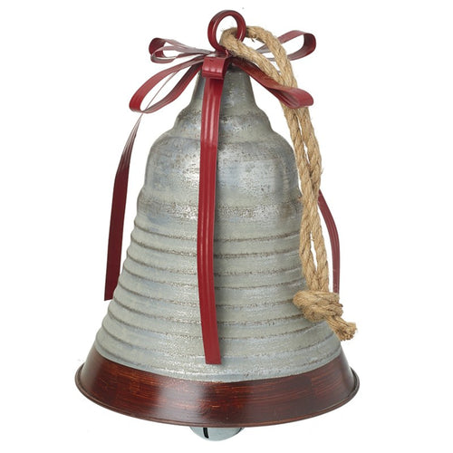Extra Large Metal Vintage Christmas Silver Bell with Metal Ribbon Details and Hanging Rope
