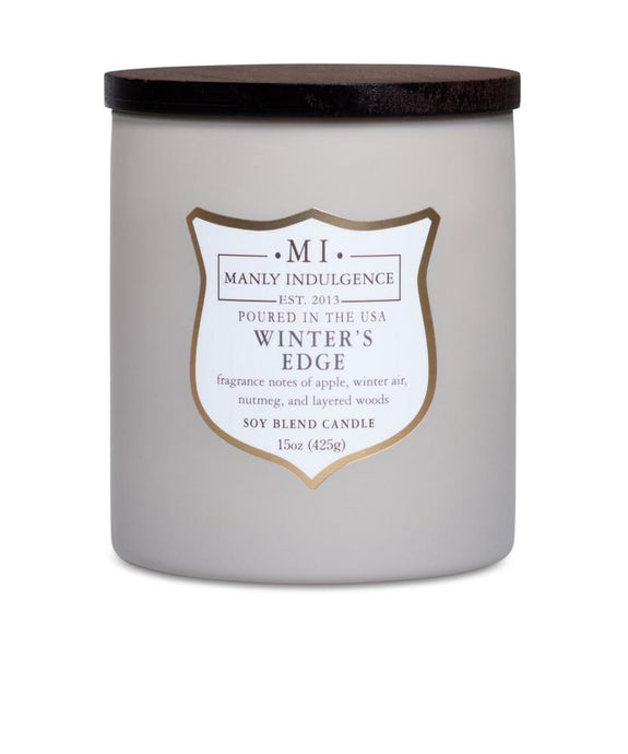 Manly Indulgence Winters Edge Large 15oz Taupe Jar Luxury Candle by Colonial Candle