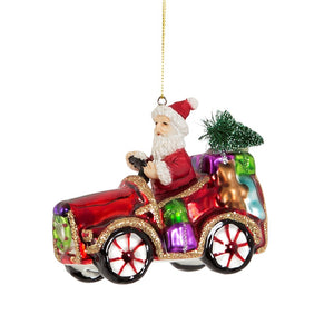Santa Sleigh No More Car Glass Christmas Bauble Vintage Retro Style Tree Decoration