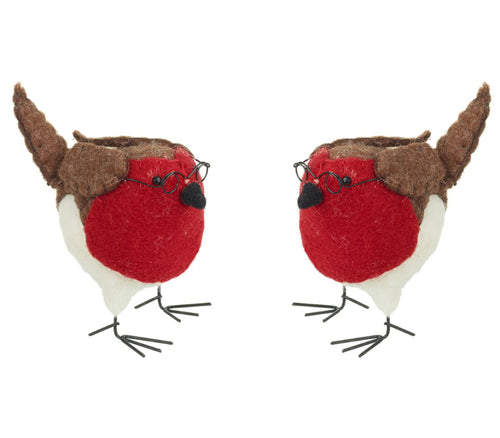 Set of Two Felt Red Robins With Spectacles Decorations