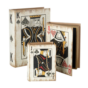 Set of 3 Deluxe Wooden Playing Cards Faux Book Design Storage Boxes by Heaven Sends-The Useful Shop