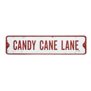 Candy Cane Lane Vintage Style Metal Street Sign in Red and White by Heaven Sends