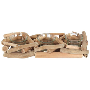 Natural Driftwood Balinese Style 3 Candle Display Centerpiece