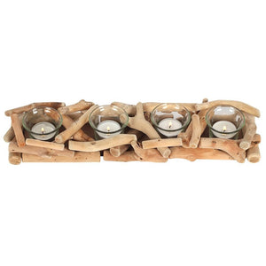 Natural Driftwood Balinese Style 4 Candle Display Centerpiece