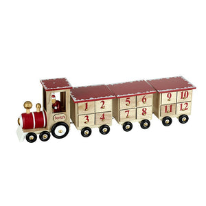 Natural Traditional Wooden Train with Santa Driving Christmas Advent Calender by Heaven Sends