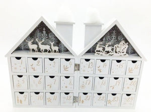 Wooden White House Advent Calendar with LED Lighting by Heaven Sends