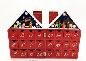 Wooden Folding Nativity Scene Advent Calendar with LED Lighting