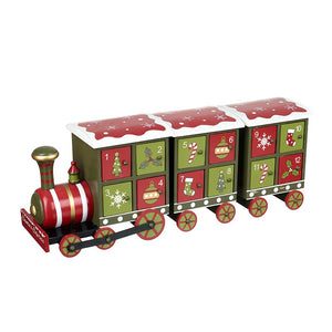 Wooden Red and Green Christmas Train Advent Calendar by Heaven Sends