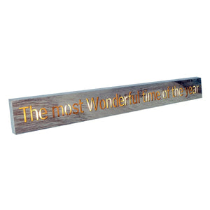 Heaven The Most Wonderful Time of The Year Christmas LED Light Up Natural Wood Block Plaque