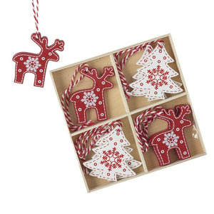 Wooden Reindeer & Christmas Tree Nordic Style Hanging Tree Decoration Set 8 Piece Set