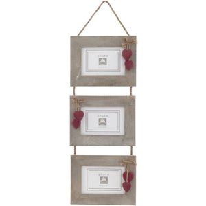 Triple Natural Wood Frame Set with Hanging Red Wooden Hearts