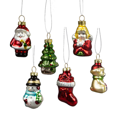 Set of 6 Glitzy Mini Traditional Christmas Characters Shaped Baubles by Sass & Belle