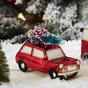Coming Home for Xmas Vintage Red Car Christmas Tree Bauble Ornament by Sass & Belle