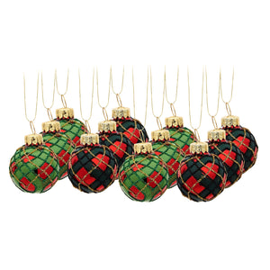 Set of 12 Tartan Christmas Tree Baubles by Sass and Belle