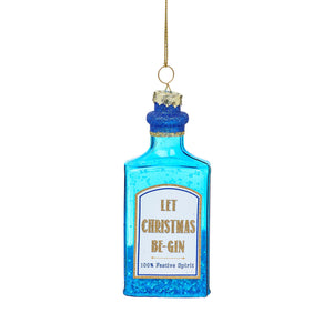 Let Christmas Be Gin Large Blue Sparking Gin Bottle Glass Tree Ornament