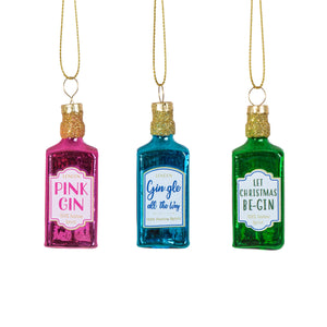 Colourful Sparkling Gin Bottles Mini Christmas Tree Ornament Set by Sass & Belle