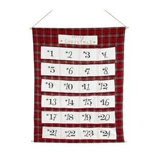 Large Highlands Tartan Fabric Advent Calendar Wall Hanging by Heaven Sends