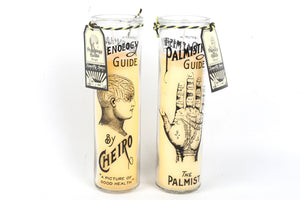 Phrenology & Palmistry Tattoo Style 2 Candle Pot Set by Temerity Jones-The Useful Shop