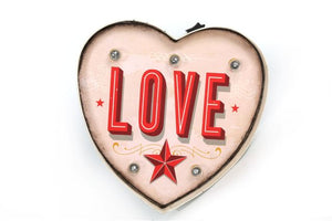 Small Heart Shaped Love Metal Funfair Carnival Wall Sign Light by Temerity Jones London-The Useful Shop