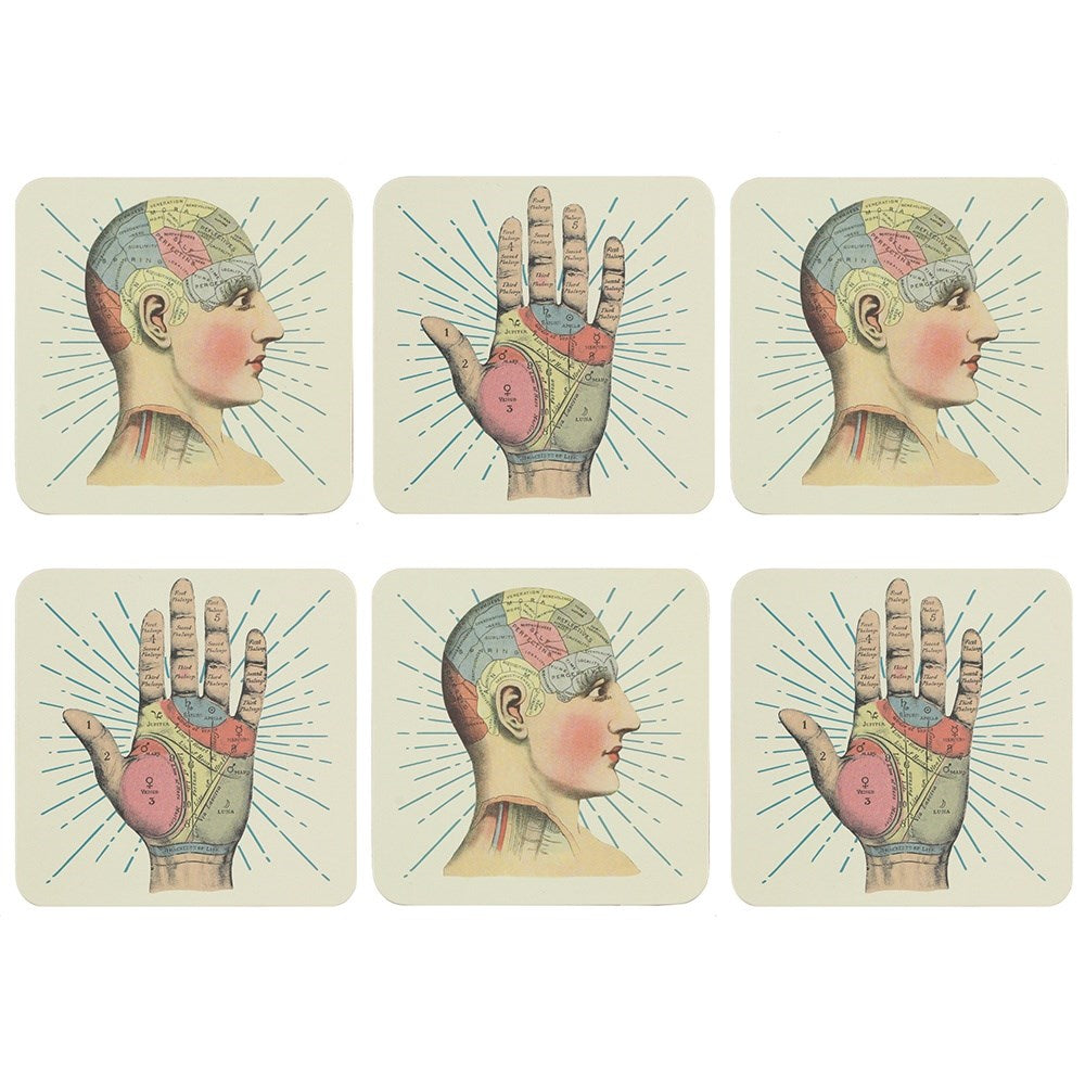Phrenology  and Palmistry Tattoo Design Coasters - Box of 6