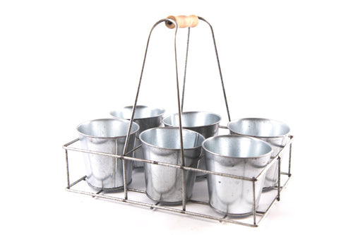 Vintage Metal Utility Style Pot Carrier with 6 Metal Planter Pots by Temerity Jones