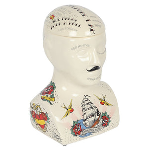 Phrenology Tattoo Ceramic Storage Head - Large Size