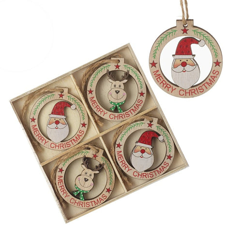 Cute Wooden Christmas Character Hanging Tree Decorations Bauble Set of 8