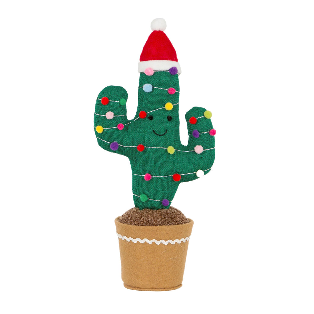 Fun Christmas Knitted Decorated Cactus Decoration Medium