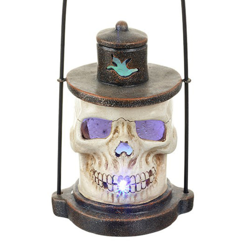 Detailed Resin Skull Lantern with LED Light Show by Heaven Sends