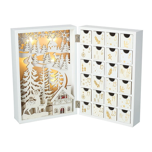 Winter Wonderland Book Style White Wooden Advent Calendar with LED