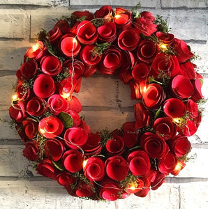 Large 35cm Red Flower Wreath With LED Lighting by Amalfi