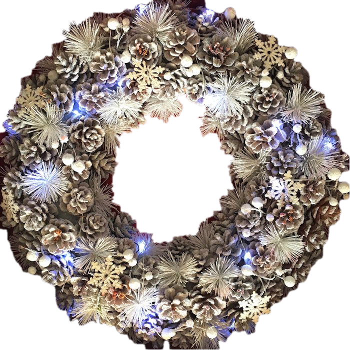 XL Winter Wonderland White Christmas Pinecone Wreath with Snowflakes and LED lighting 48cm